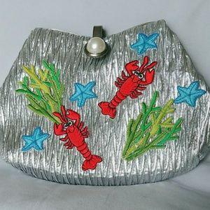 Handmade silver retro purse w/ocean embellishments